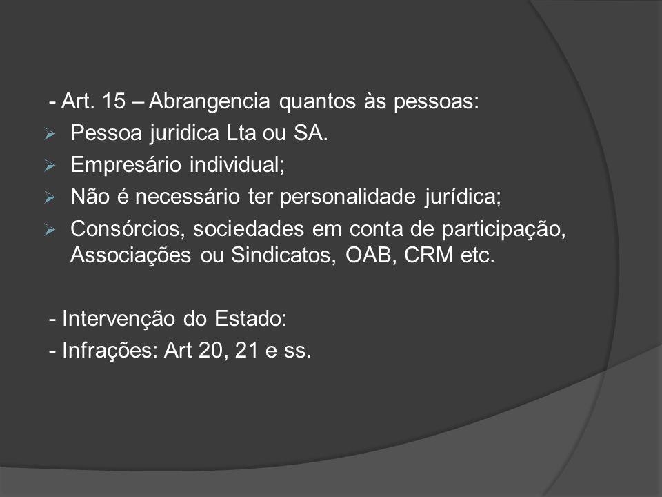 - Art. 15 – Abrangencia quantos às pessoas:  Pessoa juridica Lta ou SA.  Empresário individual;  Não é necessário ter personalidade jurídica;  Con