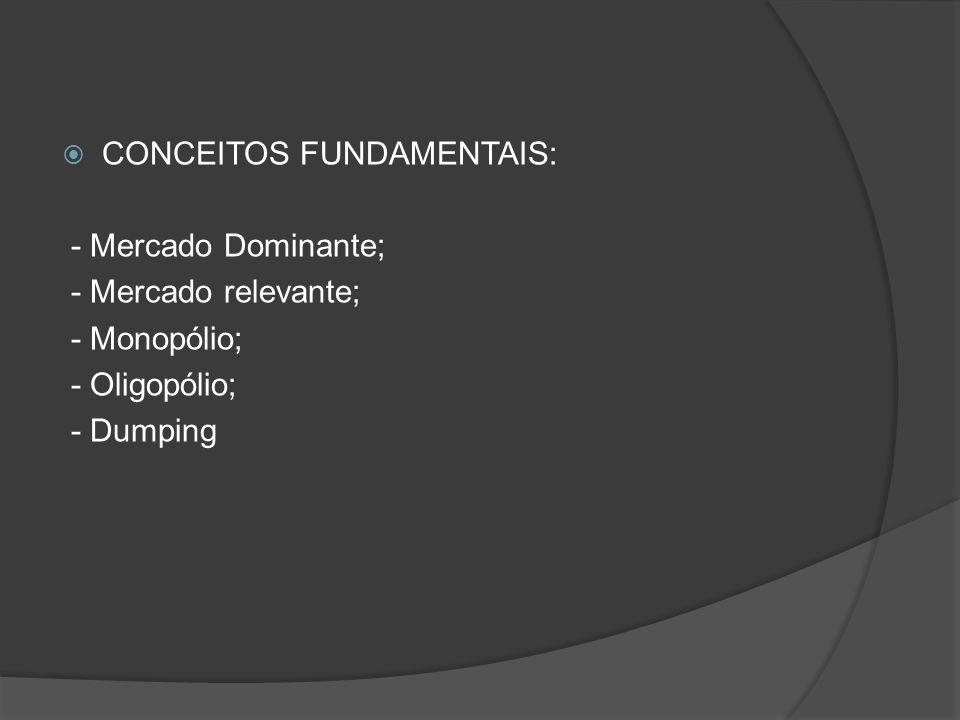 CONCEITOS FUNDAMENTAIS: - Mercado Dominante; - Mercado relevante; - Monopólio; - Oligopólio; - Dumping