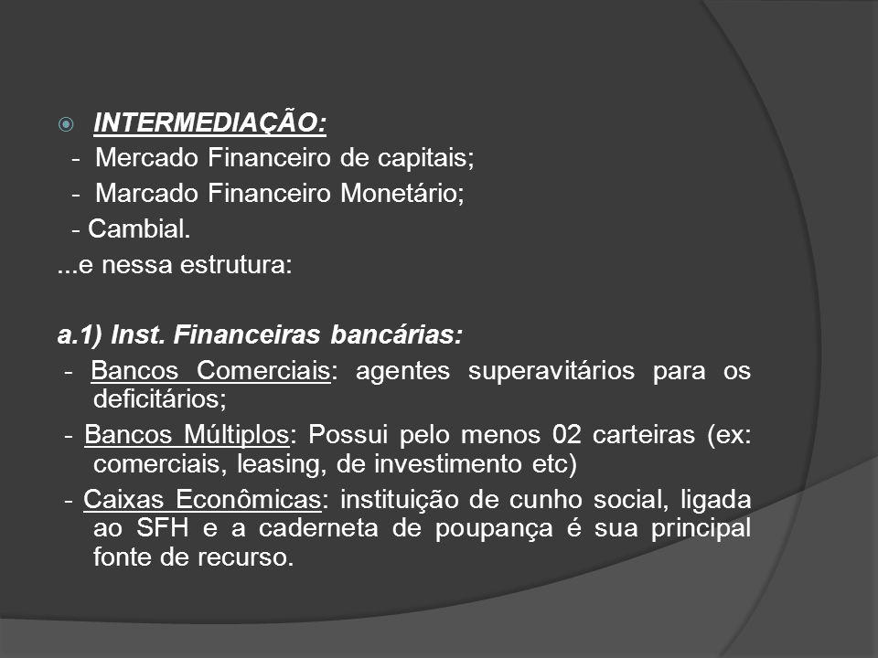  INTERMEDIAÇÃO: - Mercado Financeiro de capitais; - Marcado Financeiro Monetário; - Cambial....e nessa estrutura: a.1) Inst. Financeiras bancárias: -