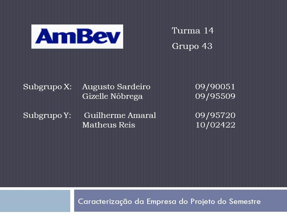 Caracterização da Empresa do Projeto do Semestre Subgrupo X: Augusto Sardeiro09/90051 Gizelle Nóbrega09/95509 Subgrupo Y: Guilherme Amaral09/95720 Matheus Reis10/02422 Turma 14 Grupo 43