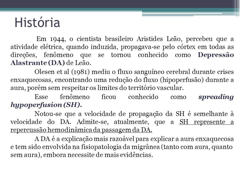 História Em 1944, o cientista brasileiro Aristides Leão, percebeu que a atividade elétrica, quando induzida, propagava-se pelo córtex em todas as direções, fenômeno que se tornou conhecido como Depressão Alastrante (DA) de Leão.