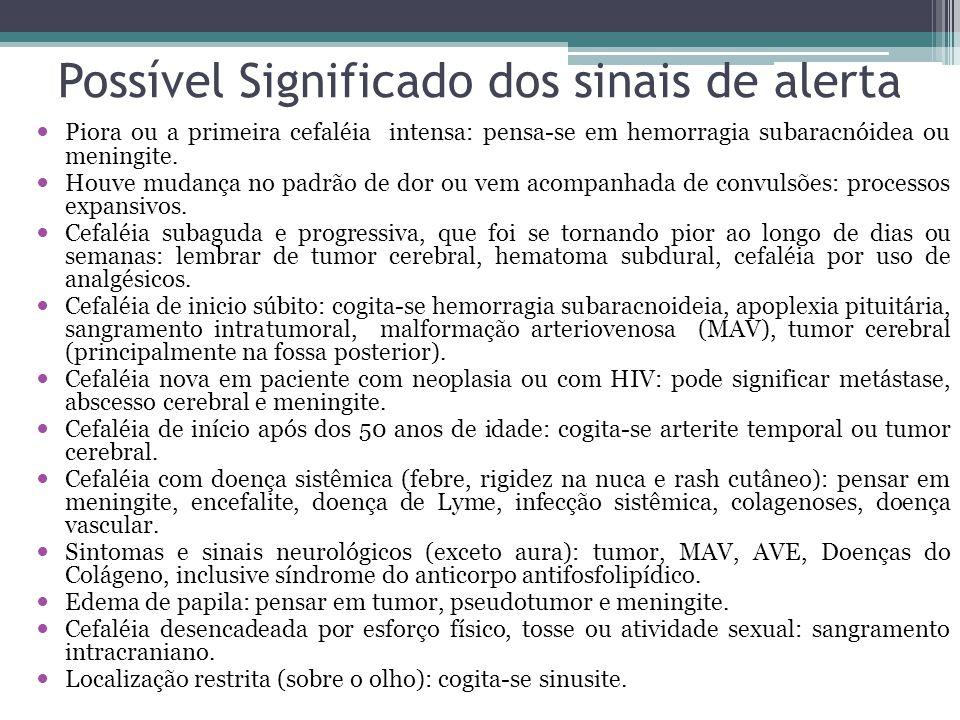 Possível Significado dos sinais de alerta Piora ou a primeira cefaléia intensa: pensa-se em hemorragia subaracnóidea ou meningite.