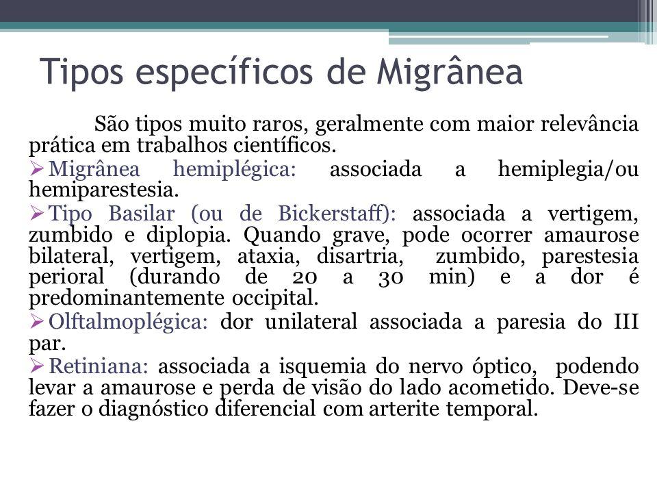 Tipos específicos de Migrânea São tipos muito raros, geralmente com maior relevância prática em trabalhos científicos.