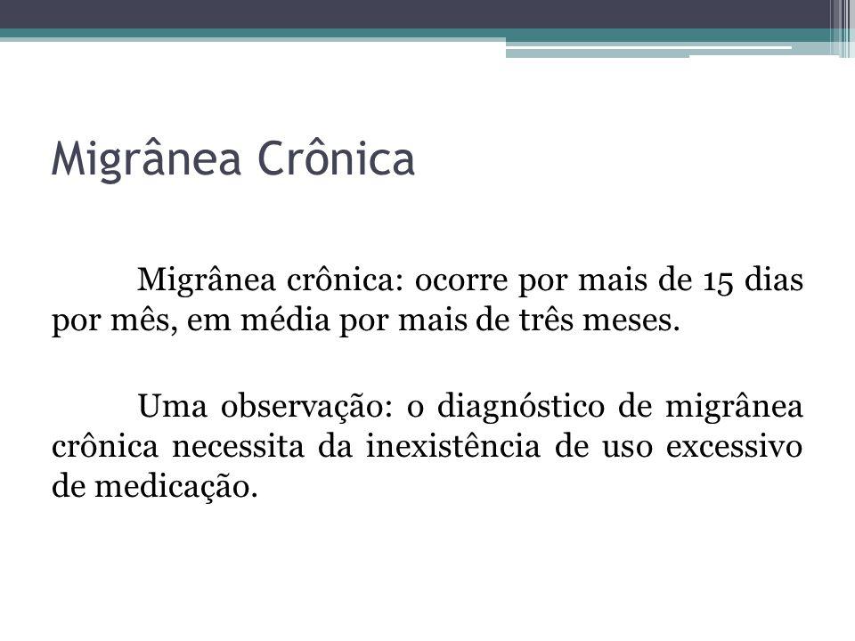 Migrânea Crônica Migrânea crônica: ocorre por mais de 15 dias por mês, em média por mais de três meses.