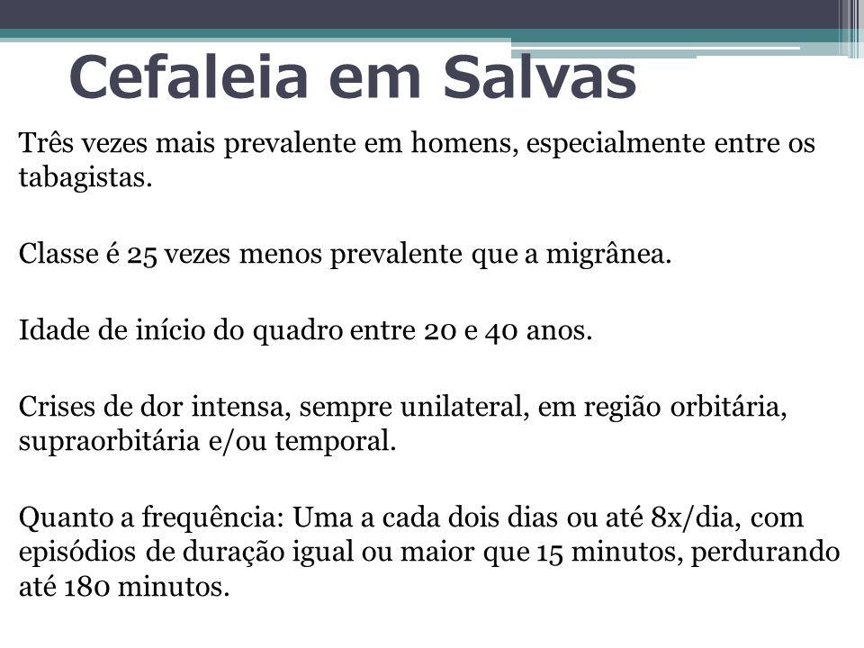 Cefaleia em Salvas Três vezes mais prevalente em homens, especialmente entre os tabagistas.