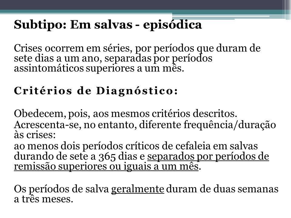 Subtipo: Em salvas - episódica Crises ocorrem em séries, por períodos que duram de sete dias a um ano, separadas por períodos assintomáticos superiores a um mês.