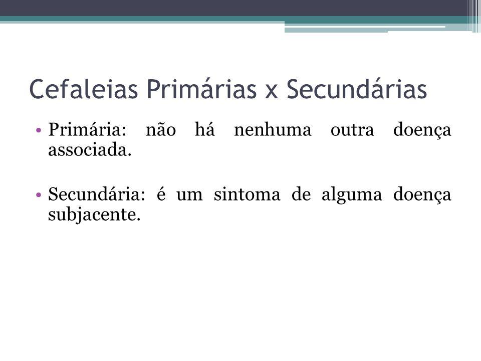 Cefaleias Primárias x Secundárias Primária: não há nenhuma outra doença associada.