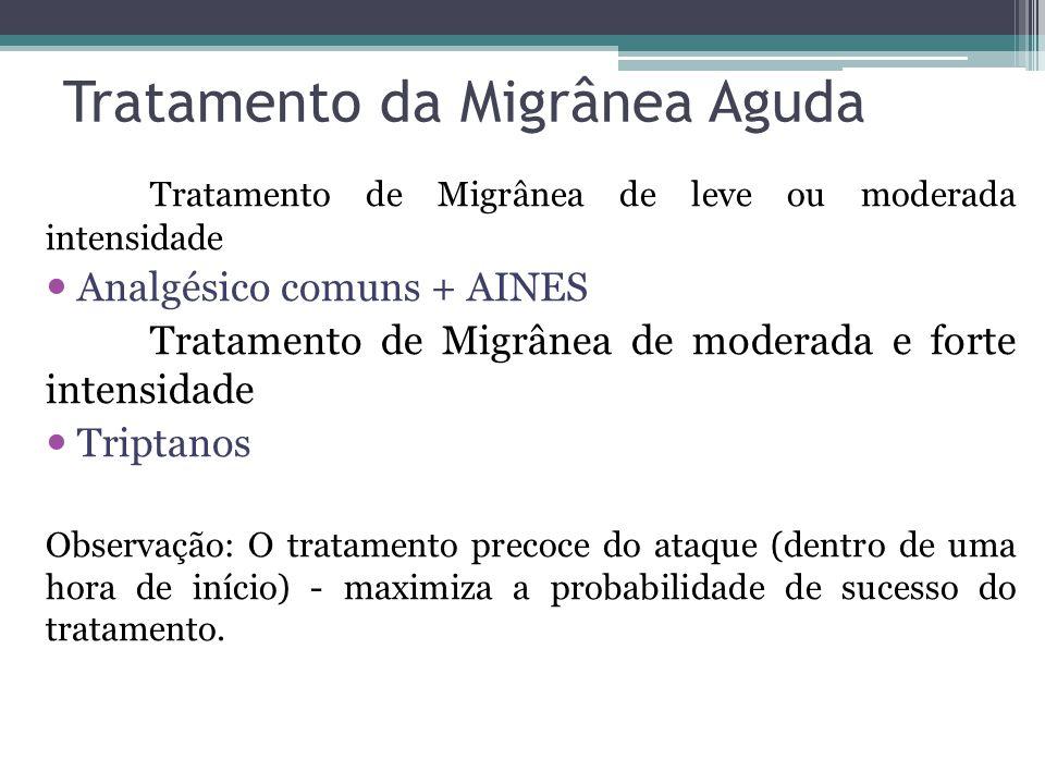 Tratamento da Migrânea Aguda Tratamento de Migrânea de leve ou moderada intensidade Analgésico comuns + AINES Tratamento de Migrânea de moderada e forte intensidade Triptanos Observação: O tratamento precoce do ataque (dentro de uma hora de início) - maximiza a probabilidade de sucesso do tratamento.