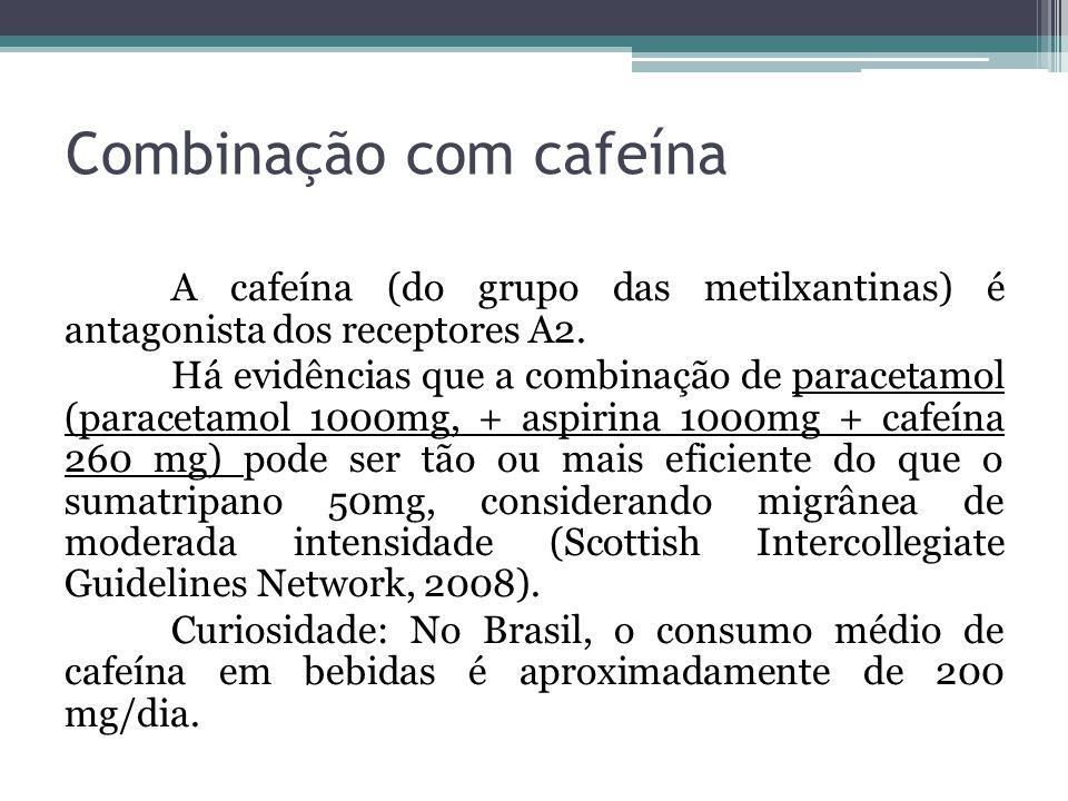 Combinação com cafeína A cafeína (do grupo das metilxantinas) é antagonista dos receptores A2.