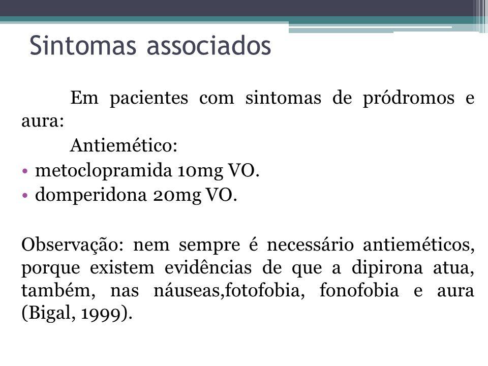 Sintomas associados Em pacientes com sintomas de pródromos e aura: Antiemético: metoclopramida 10mg VO.
