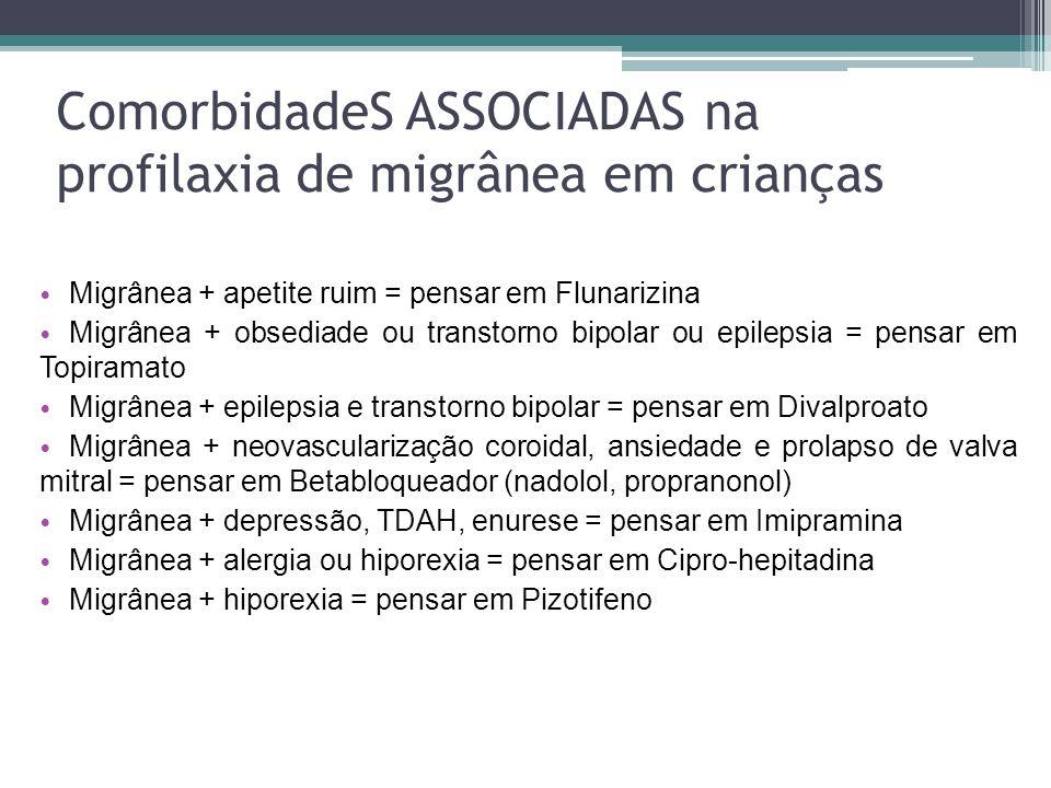 ComorbidadeS ASSOCIADAS na profilaxia de migrânea em crianças Migrânea + apetite ruim = pensar em Flunarizina Migrânea + obsediade ou transtorno bipolar ou epilepsia = pensar em Topiramato Migrânea + epilepsia e transtorno bipolar = pensar em Divalproato Migrânea + neovascularização coroidal, ansiedade e prolapso de valva mitral = pensar em Betabloqueador (nadolol, propranonol) Migrânea + depressão, TDAH, enurese = pensar em Imipramina Migrânea + alergia ou hiporexia = pensar em Cipro-hepitadina Migrânea + hiporexia = pensar em Pizotifeno