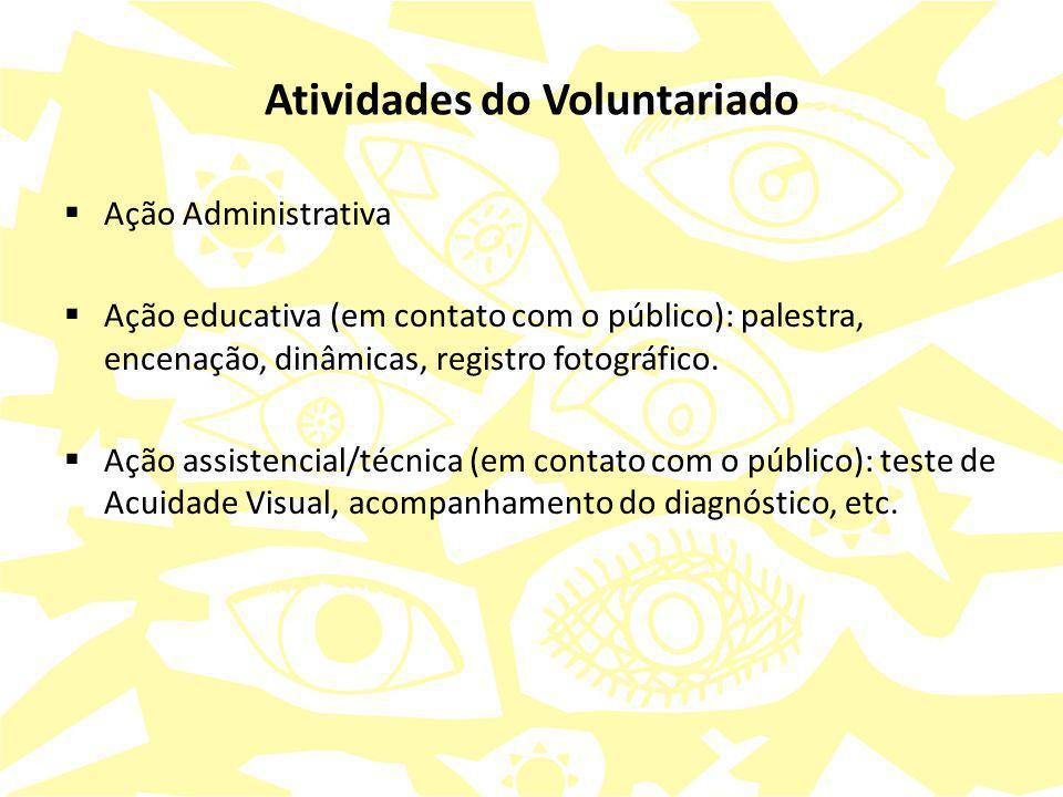 Atividades do Voluntariado  Ação Administrativa  Ação educativa (em contato com o público): palestra, encenação, dinâmicas, registro fotográfico. 