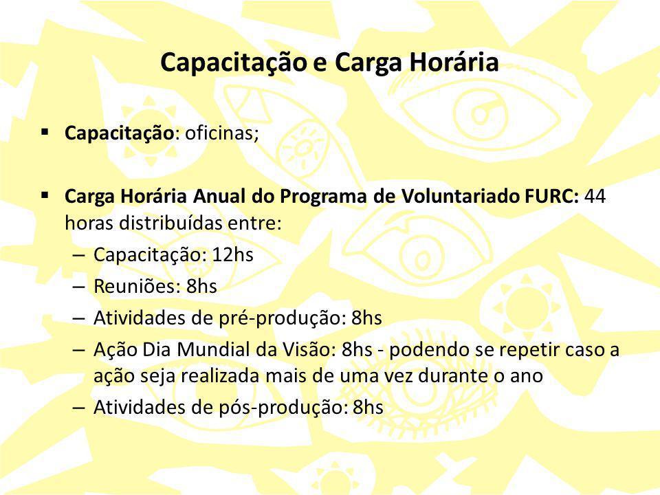 Capacitação e Carga Horária  Capacitação: oficinas;  Carga Horária Anual do Programa de Voluntariado FURC: 44 horas distribuídas entre: – Capacitaçã