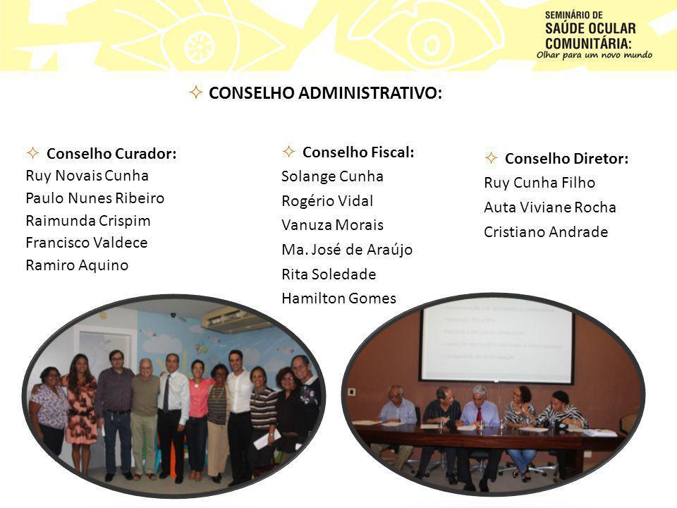  CONSELHO ADMINISTRATIVO:  Conselho Fiscal: Solange Cunha Rogério Vidal Vanuza Morais Ma.