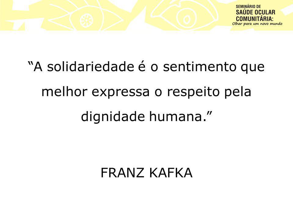 A solidariedade é o sentimento que melhor expressa o respeito pela dignidade humana. FRANZ KAFKA