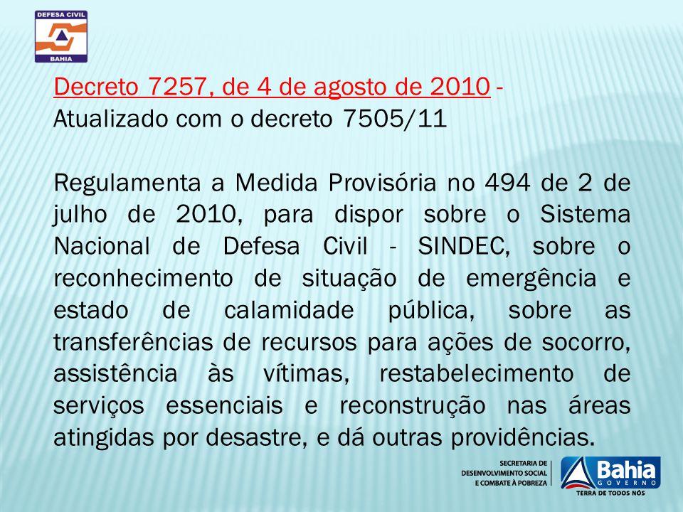 Decreto 7257, de 4 de agosto de 2010 - Atualizado com o decreto 7505/11 Regulamenta a Medida Provisória no 494 de 2 de julho de 2010, para dispor sobr