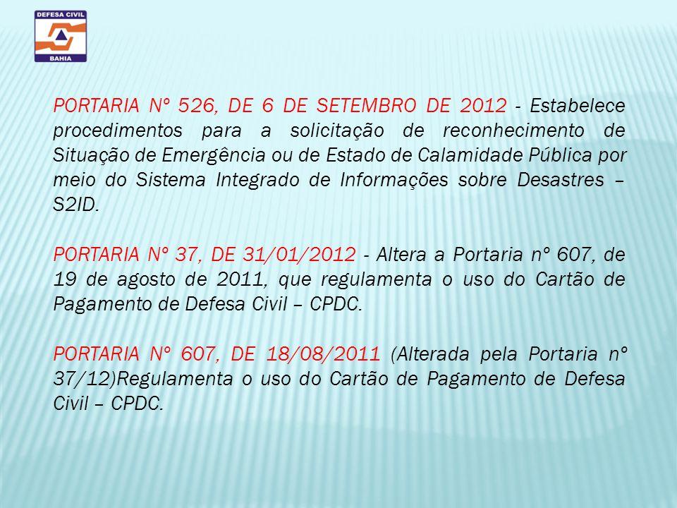 PORTARIA Nº 526, DE 6 DE SETEMBRO DE 2012 - Estabelece procedimentos para a solicitação de reconhecimento de Situação de Emergência ou de Estado de Ca