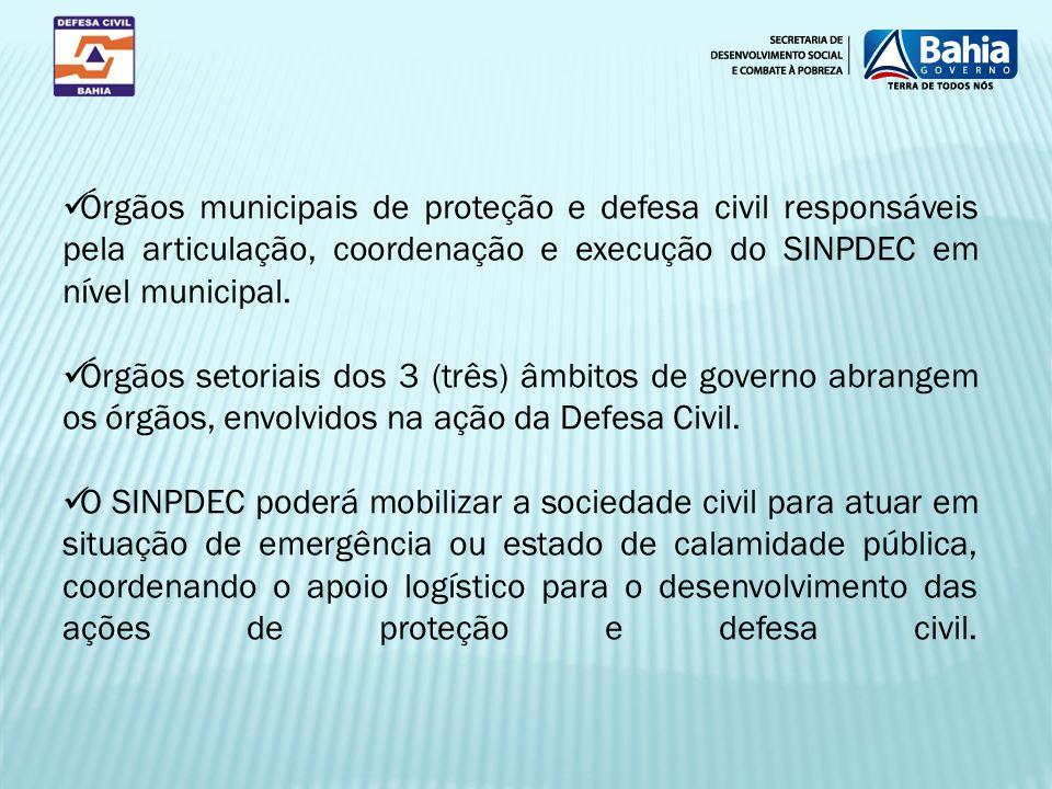 Órgãos municipais de proteção e defesa civil responsáveis pela articulação, coordenação e execução do SINPDEC em nível municipal. Órgãos setoriais dos