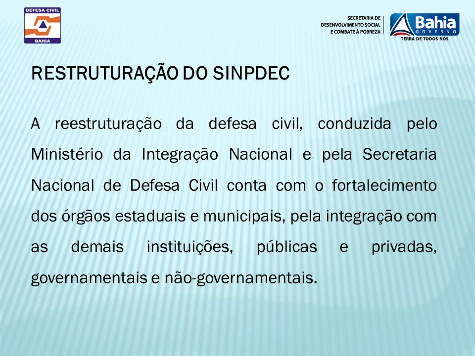 A reestruturação da defesa civil, conduzida pelo Ministério da Integração Nacional e pela Secretaria Nacional de Defesa Civil conta com o fortalecimen