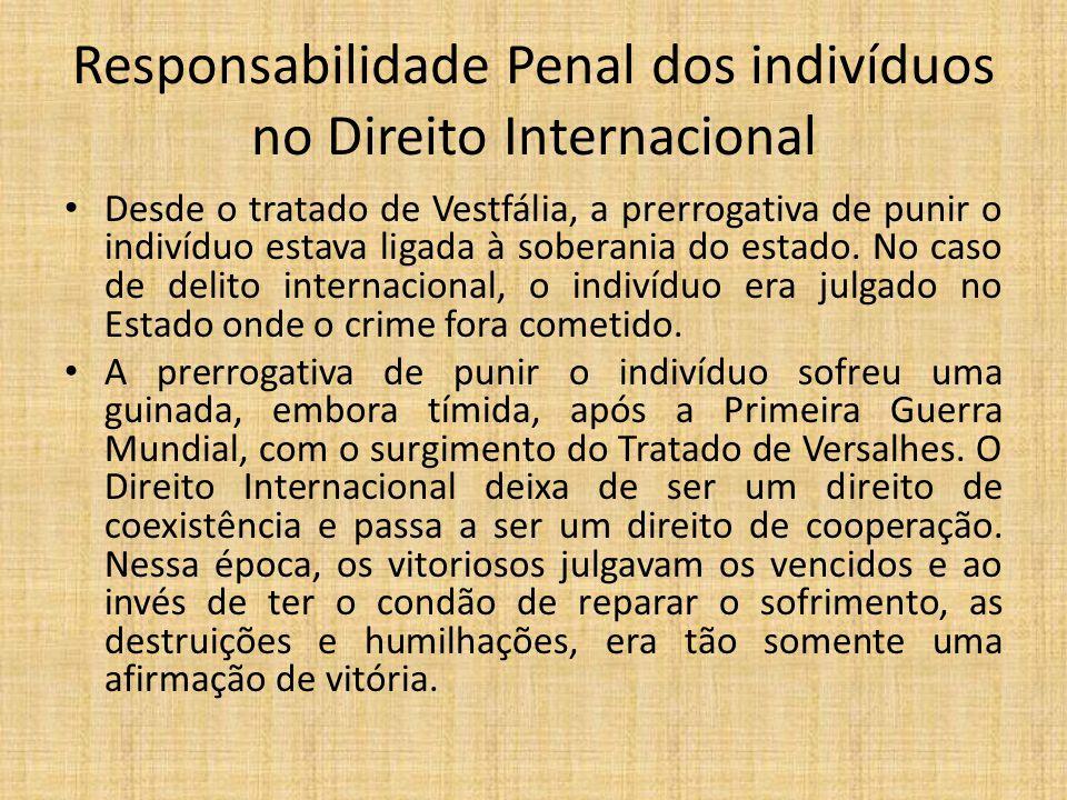Responsabilidade Penal dos indivíduos no Direito Internacional Desde o tratado de Vestfália, a prerrogativa de punir o indivíduo estava ligada à soberania do estado.