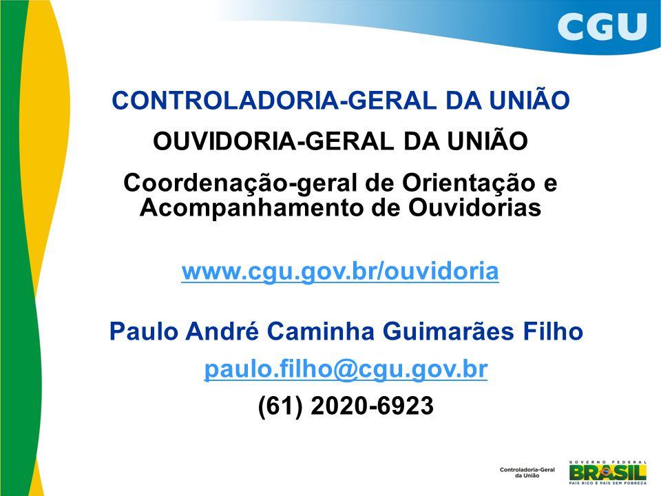 CONTROLADORIA-GERAL DA UNIÃO OUVIDORIA-GERAL DA UNIÃO Coordenação-geral de Orientação e Acompanhamento de Ouvidorias www.cgu.gov.br/ouvidoria Paulo An