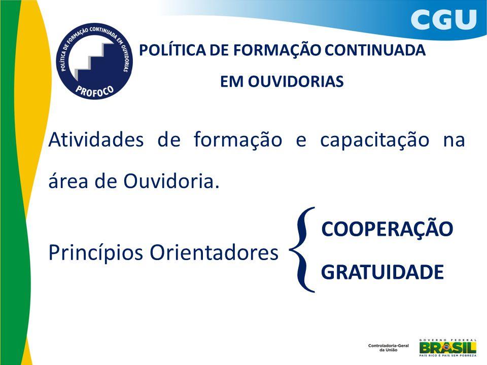 Atividades de formação e capacitação na área de Ouvidoria. POLÍTICA DE FORMAÇÃO CONTINUADA EM OUVIDORIAS Princípios Orientadores COOPERAÇÃO GRATUIDADE