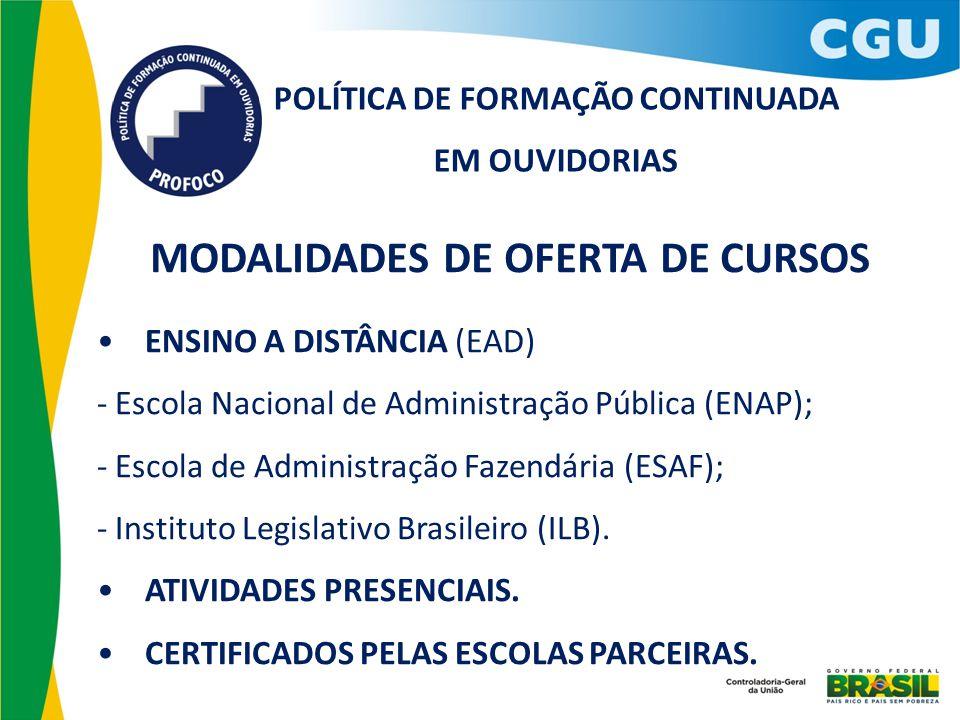 POLÍTICA DE FORMAÇÃO CONTINUADA EM OUVIDORIAS MODALIDADES DE OFERTA DE CURSOS ENSINO A DISTÂNCIA (EAD) - Escola Nacional de Administração Pública (ENA