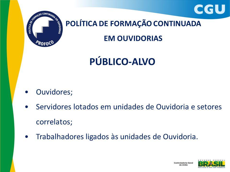 POLÍTICA DE FORMAÇÃO CONTINUADA EM OUVIDORIAS Ouvidores; Servidores lotados em unidades de Ouvidoria e setores correlatos; Trabalhadores ligados às un