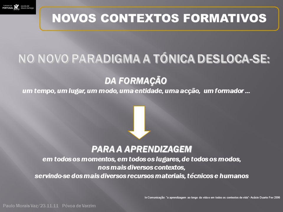 In Comunicação: a aprendizagem ao longo da vida e em todos os contextos de vida - Acácio Duarte Fev 2006 DA FORMAÇÃO um tempo, um lugar, um modo, uma entidade, uma acção, um formador … PARA A APRENDIZAGEM em todos os momentos, em todos os lugares, de todos os modos, nos mais diversos contextos, servindo-se dos mais diversos recursos materiais, técnicos e humanos NOVOS CONTEXTOS FORMATIVOS Paulo Morais Vaz/23.11.11 Póvoa de Varzim