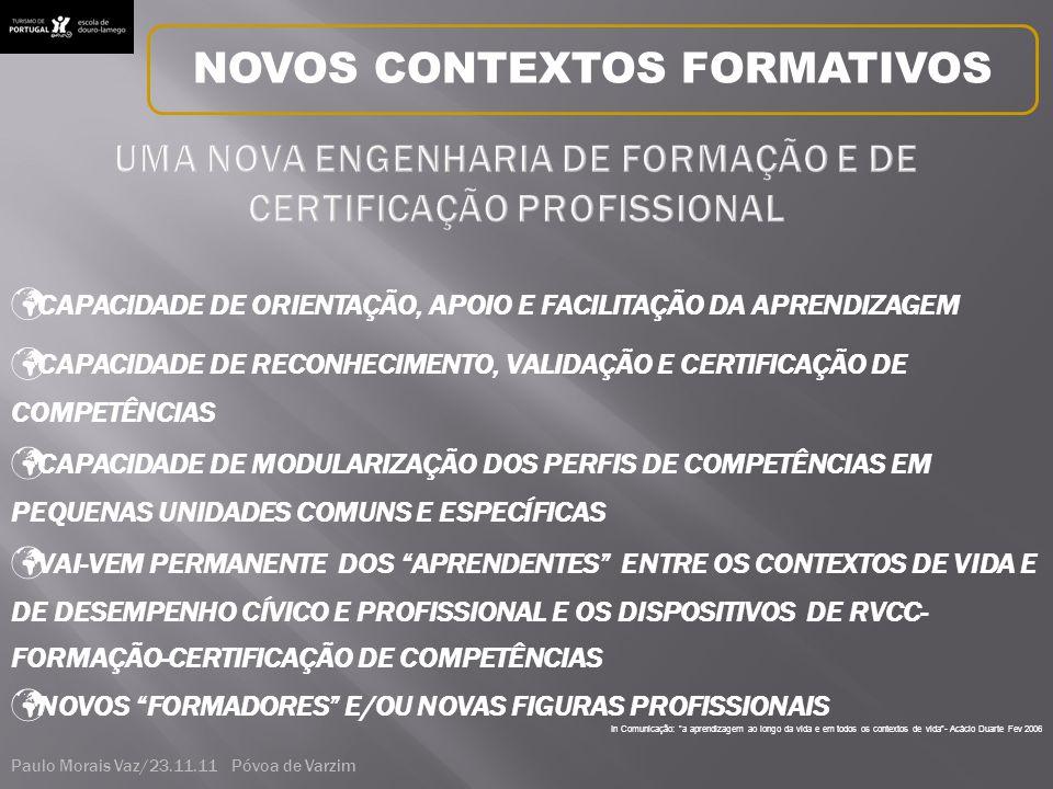 In Comunicação: a aprendizagem ao longo da vida e em todos os contextos de vida - Acácio Duarte Fev 2006 CAPACIDADE DE RECONHECIMENTO, VALIDAÇÃO E CERTIFICAÇÃO DE COMPETÊNCIAS CAPACIDADE DE ORIENTAÇÃO, APOIO E FACILITAÇÃO DA APRENDIZAGEM CAPACIDADE DE MODULARIZAÇÃO DOS PERFIS DE COMPETÊNCIAS EM PEQUENAS UNIDADES COMUNS E ESPECÍFICAS VAI-VEM PERMANENTE DOS APRENDENTES ENTRE OS CONTEXTOS DE VIDA E DE DESEMPENHO CÍVICO E PROFISSIONAL E OS DISPOSITIVOS DE RVCC- FORMAÇÃO-CERTIFICAÇÃO DE COMPETÊNCIAS NOVOS FORMADORES E/OU NOVAS FIGURAS PROFISSIONAIS NOVOS CONTEXTOS FORMATIVOS Paulo Morais Vaz/23.11.11 Póvoa de Varzim
