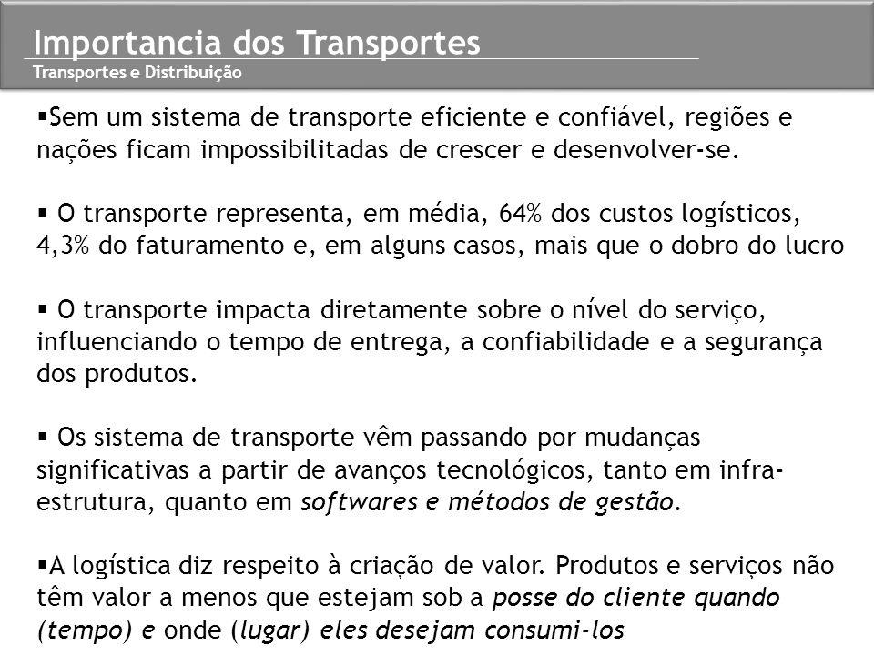  Sem um sistema de transporte eficiente e confiável, regiões e nações ficam impossibilitadas de crescer e desenvolver-se.  O transporte representa,