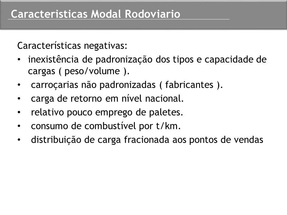 Características negativas: inexistência de padronização dos tipos e capacidade de cargas ( peso/volume ). carroçarias não padronizadas ( fabricantes )