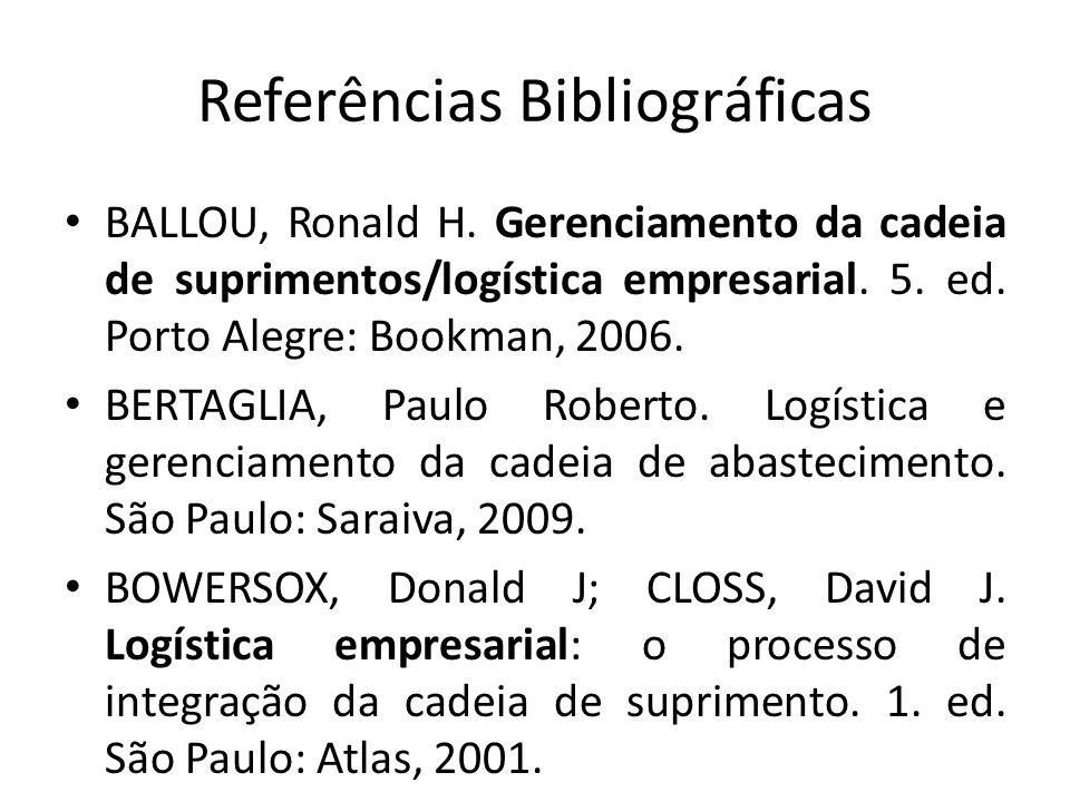 Referências Bibliográficas BALLOU, Ronald H. Gerenciamento da cadeia de suprimentos/logística empresarial. 5. ed. Porto Alegre: Bookman, 2006. BERTAGL