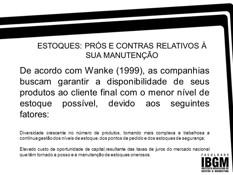ESTOQUES: PRÓS E CONTRAS RELATIVOS À SUA MANUTENÇÃO De acordo com Wanke (1999), as companhias buscam garantir a disponibilidade de seus produtos ao cl