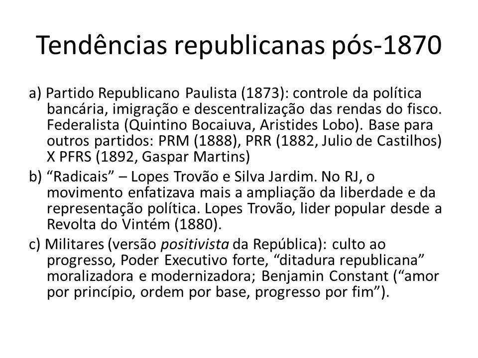 Tendências republicanas pós-1870 a) Partido Republicano Paulista (1873): controle da política bancária, imigração e descentralização das rendas do fis