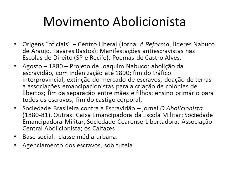 """Movimento Abolicionista Origens """"oficiais"""" – Centro Liberal (Jornal A Reforma, líderes Nabuco de Araujo, Tavares Bastos); Manifestações antiescravista"""