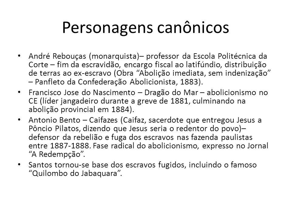 Personagens canônicos André Rebouças (monarquista)– professor da Escola Politécnica da Corte – fim da escravidão, encargo fiscal ao latifúndio, distri