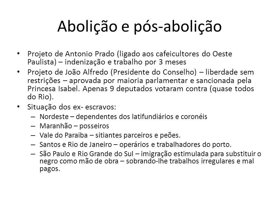 Abolição e pós-abolição Projeto de Antonio Prado (ligado aos cafeicultores do Oeste Paulista) – indenização e trabalho por 3 meses Projeto de João Alf