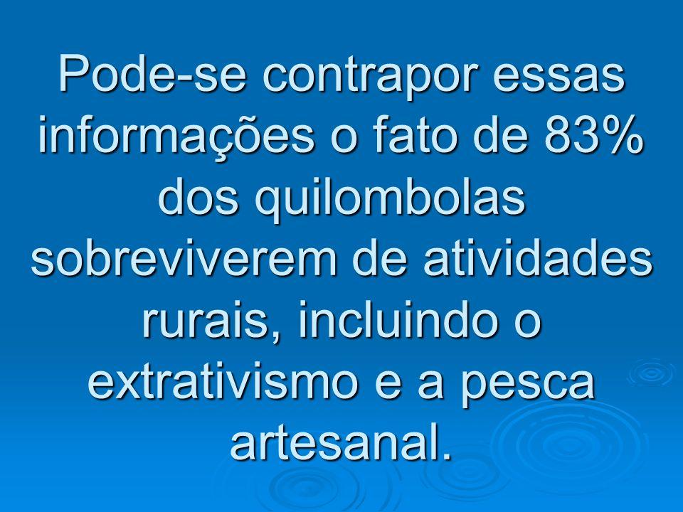 Pode-se contrapor essas informações o fato de 83% dos quilombolas sobreviverem de atividades rurais, incluindo o extrativismo e a pesca artesanal.
