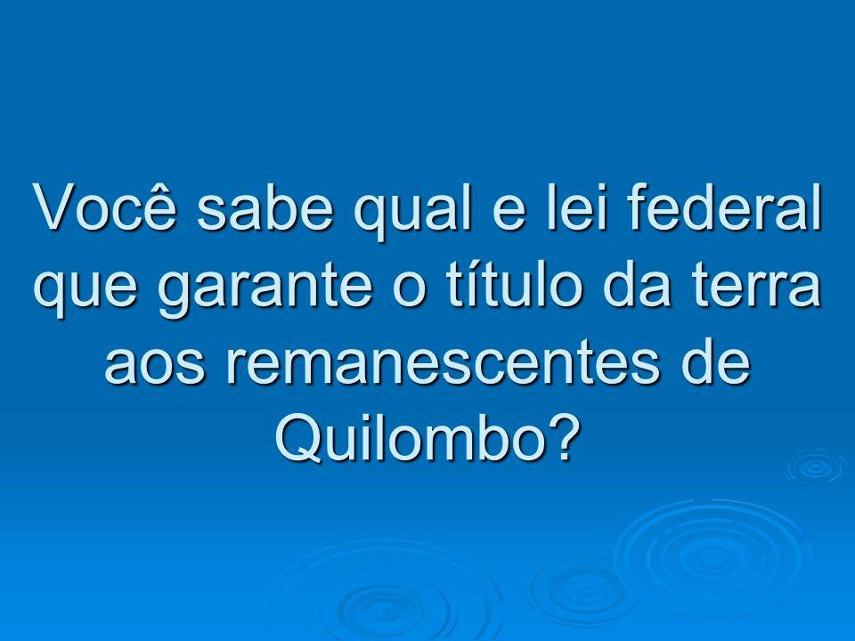 Você sabe qual e lei federal que garante o título da terra aos remanescentes de Quilombo?