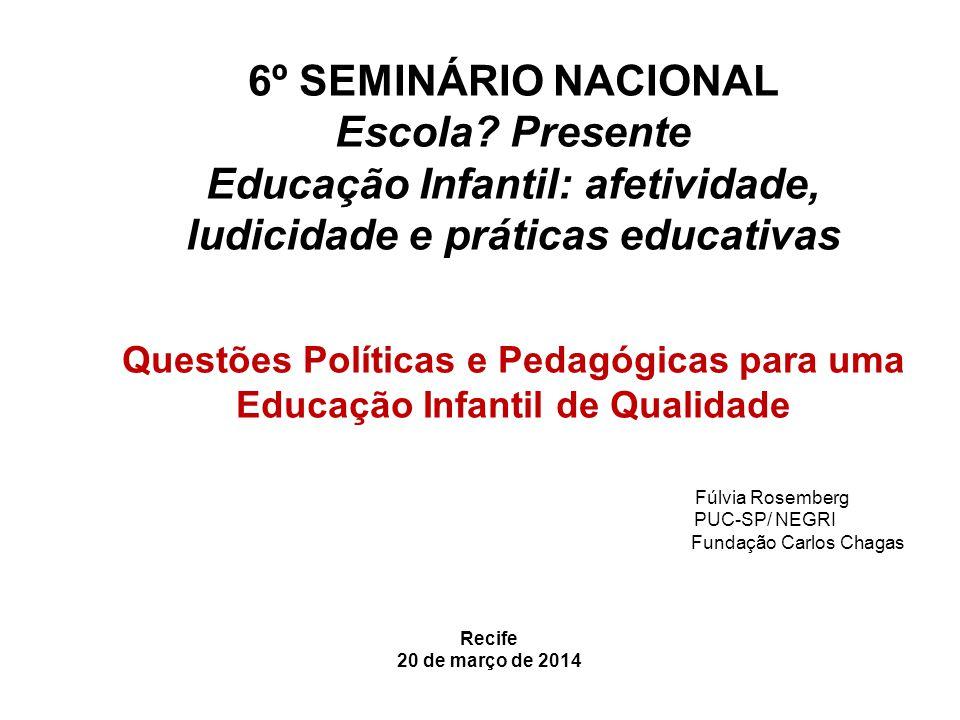 6º SEMINÁRIO NACIONAL Escola? Presente Educação Infantil: afetividade, ludicidade e práticas educativas Questões Políticas e Pedagógicas para uma Educ