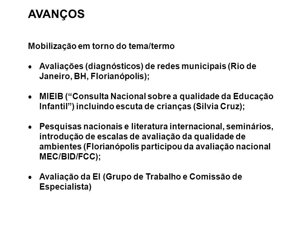 """AVANÇOS Mobilização em torno do tema/termo  Avaliações (diagnósticos) de redes municipais (Rio de Janeiro, BH, Florianópolis);  MIEIB (""""Consulta Nac"""