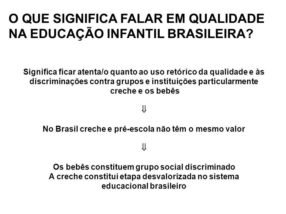 O QUE SIGNIFICA FALAR EM QUALIDADE NA EDUCAÇÃO INFANTIL BRASILEIRA? Significa ficar atenta/o quanto ao uso retórico da qualidade e às discriminações c