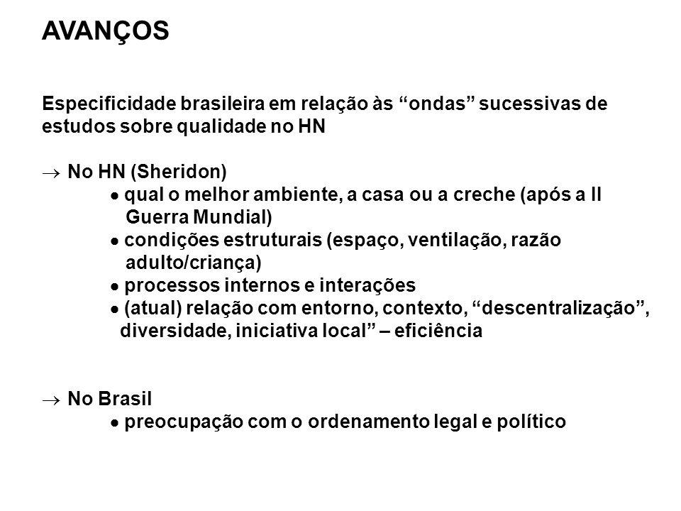"""AVANÇOS Especificidade brasileira em relação às """"ondas"""" sucessivas de estudos sobre qualidade no HN  No HN (Sheridon)  qual o melhor ambiente, a cas"""