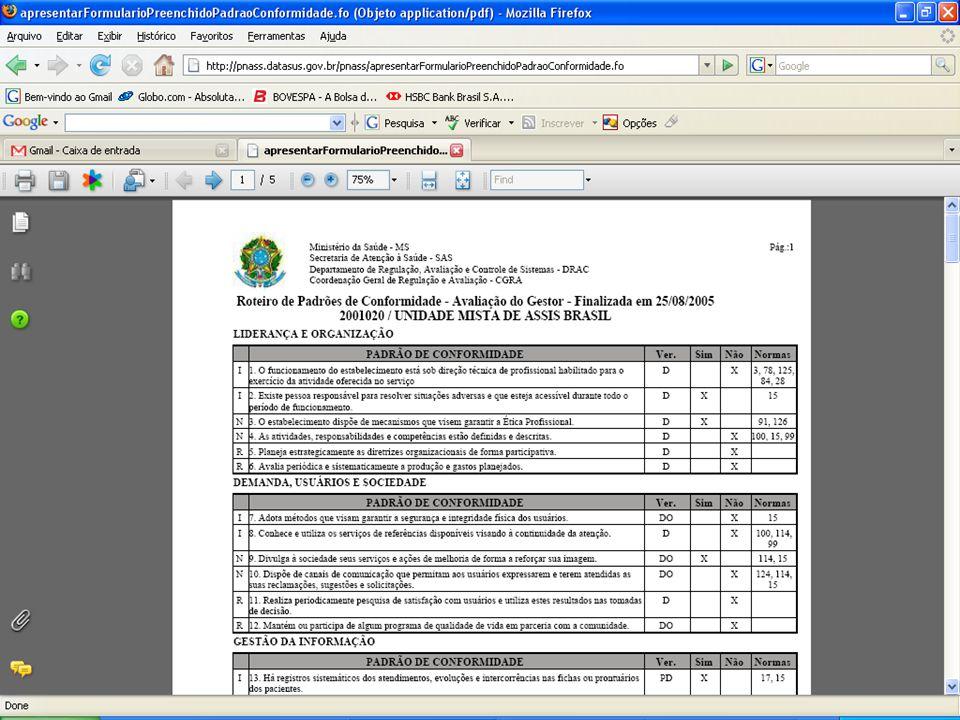 DATASUS – Sistema Nacional de Avaliação de Serviços de Saúde Padrões de Conformidade – Emissão de Recibo