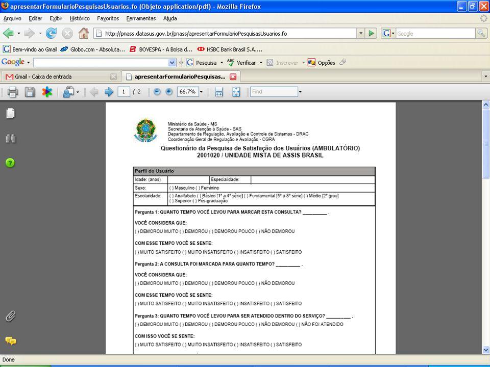 DATASUS – Sistema Nacional de Avaliação de Serviços de Saúde Pesquisas Usuários/Trabalhadores – Formulários