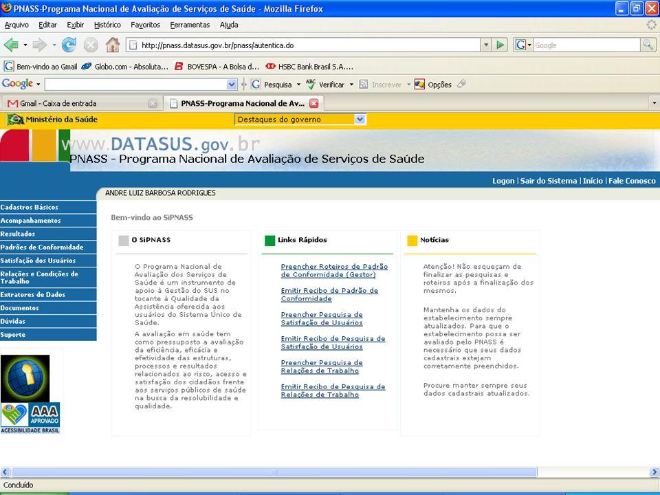DATASUS – Sistema Nacional de Avaliação de Serviços de Saúde Autenticação do Usuário