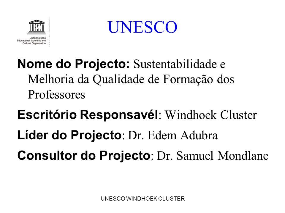 UNESCO WINDHOEK CLUSTER UNESCO Nome do Projecto: Sustentabilidade e Melhoria da Qualidade de Formação dos Professores Escritório Responsavél : Windhoe