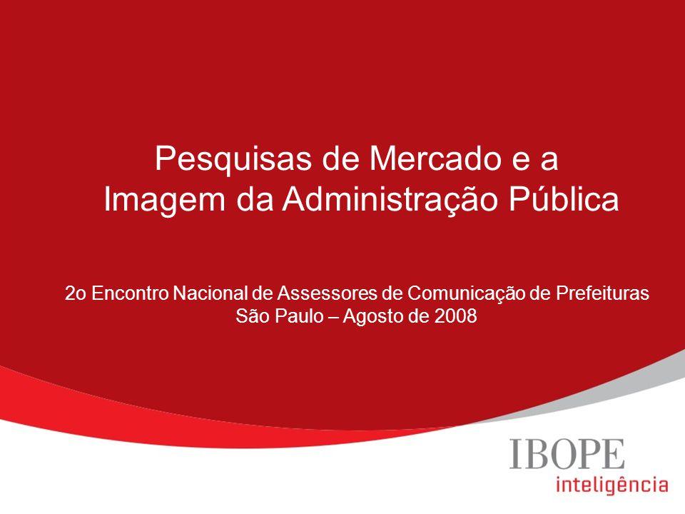 Pesquisas de Mercado e a Imagem da Administração Pública 2o Encontro Nacional de Assessores de Comunicação de Prefeituras São Paulo – Agosto de 2008