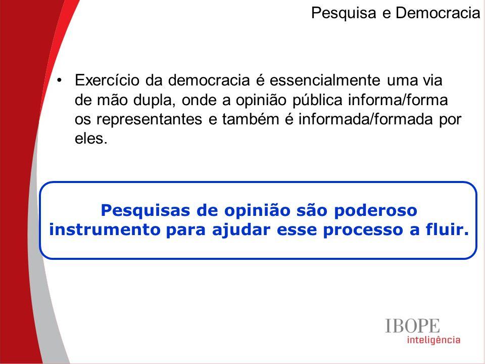Exercício da democracia é essencialmente uma via de mão dupla, onde a opinião pública informa/forma os representantes e também é informada/formada por eles.